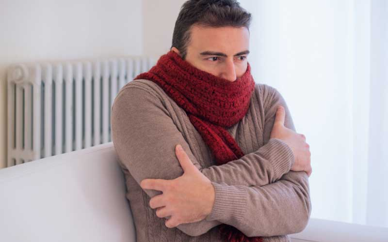 man cold with broken furnace